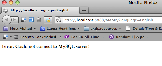 MAMP : Error: Could not connect to MySQL server!